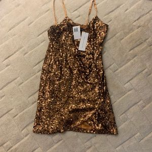NWT French Connection Gold Sequin Dress Size 8